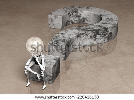 a lamp character with his bulb light switched off is sitting on a question mark made of stone and has his left hand under his chin how to think to solve a problem, on a abstract background - stock photo