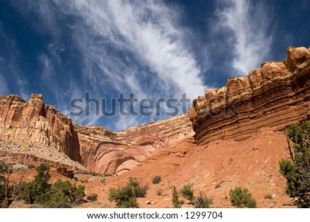 A landscape from America's beautiful desert near Capital Reef, Utah. - stock photo