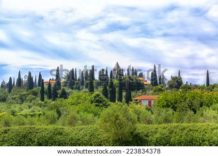 A landscape like in the Tuscany you will find in Sirmione at the Lake Garda - stock photo
