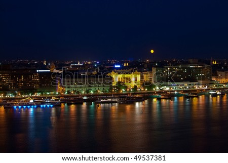 A landscape of Budapest in the night