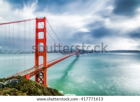 A landscape of Golden Gate Bridge, San Francisco, USA. Golden Gate Bridge is a landmark of San Francisco.  Golden Gate Bridge has 1-mile wide and 3-mile long.
