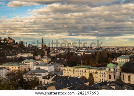 a landscape of the city of Salzburg, Austria, from the Kapuziner's hill