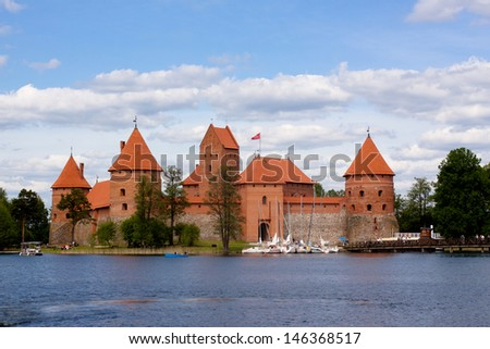 A landscape with lake and Trakaj castle in Lithuania