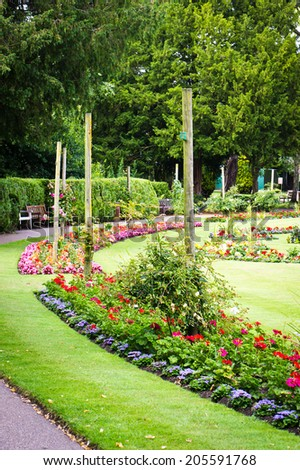 A landscaped public garden in the summer - stock photo