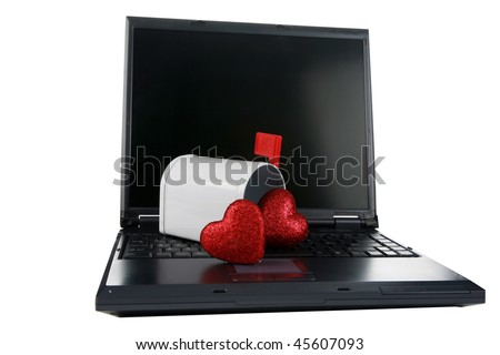 "a laptop computer with a mail box isolated on white with Valentines Day Hearts represents ""e-mail"" Love, Romance, internet dating and more"