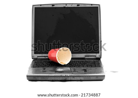 a laptop computer with spilled liquid on the keyboard in black and white and colorized isolated on white - stock photo