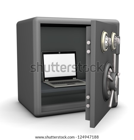 A laptop in the opened safe. White background.