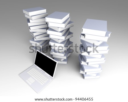 A Laptop with books. 3D rendered illustration.