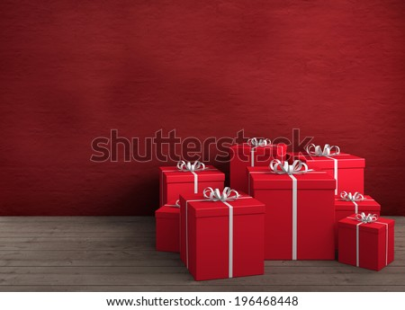 a large amount of red gifts for birthday or christmas - stock photo