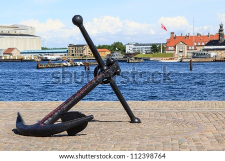 A large anchor as a symbol at the grounds of Copenhagen's harbor - stock photo