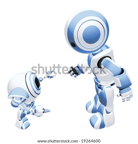 A large and small robot interacting in a friendly way, reaching out their hands to each other. - stock photo
