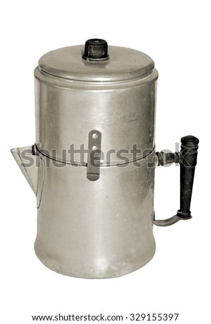 A large antique coffee pot on white background.