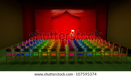 a large auditorium, with colored chairs in the center of space for text - stock photo