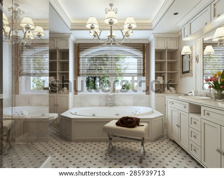 A large bathroom with large bath and window, brown and white tones. 3d render.