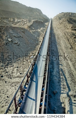 a large belt conveyor - stock photo
