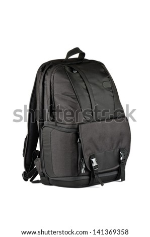A large black backpack with a strong fastening on a white background