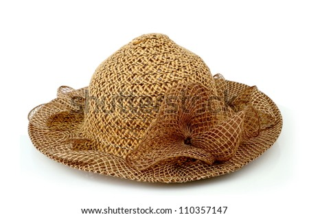 A large brown ladies hat, isolated on white background.