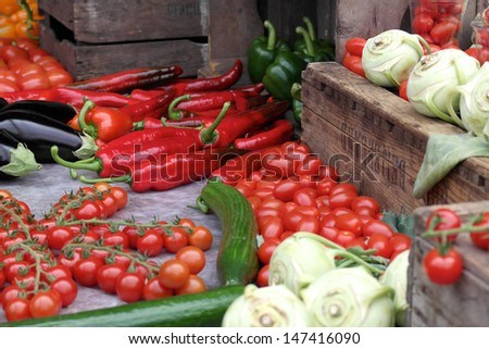 A large collection of colorful fresh produce - stock photo
