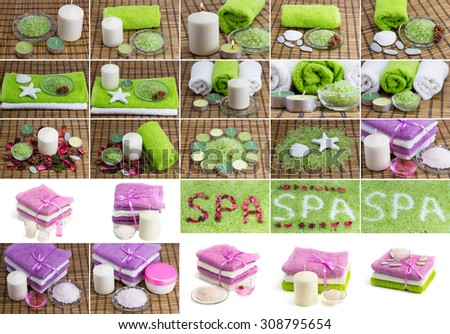 A large collection of photo shoots with different accessories on the theme of the spa treatments - stock photo
