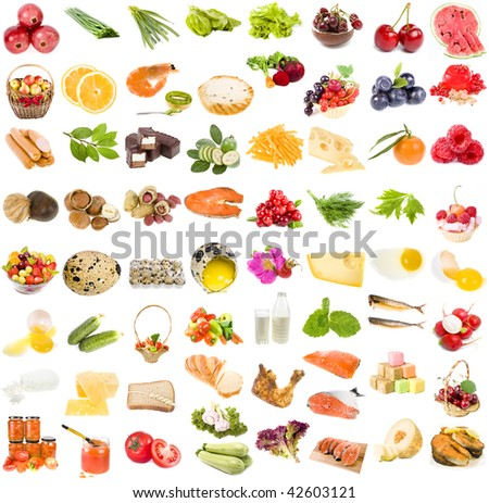 A large collection set of food, fruit, berries vegetables , isolated on a white background