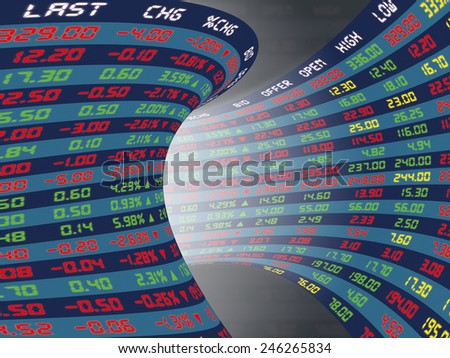 a large display of daily stock market price and quotations during normal economic period : corridor/tunnel concept - stock photo