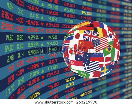 A large display of daily stock market price and quotations during normal economic period with decorative crystal ball, flags of main country in the world - stock photo