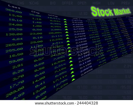 a large display of stock market price and quotation during the bull market period, shares up, economic upturn - stock photo