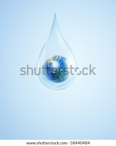 A large drop of water with Earth inside  on a blue background. As a symbol of protection of the environment. - stock photo