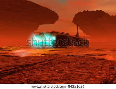 A large futuristic is seen from a low viewpoint driving over the surface of Mars. Its lighst are on as dust in kicked up on the surface.