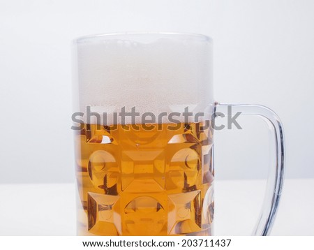A large glass of German lager beer
