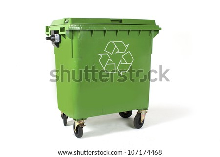 A large green recycling bin - stock photo