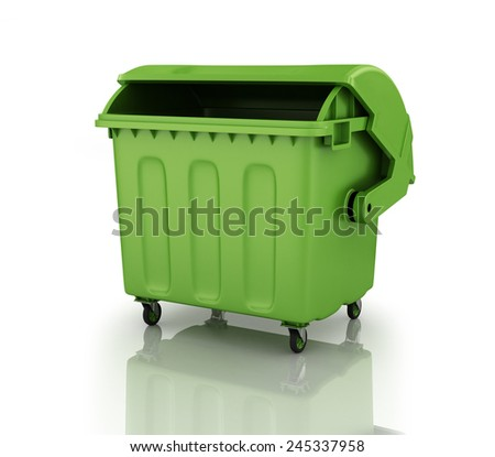 A large green recycling bin. - stock photo