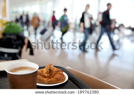 A large group of arriving passengers. Motion blur. Airport. - stock photo