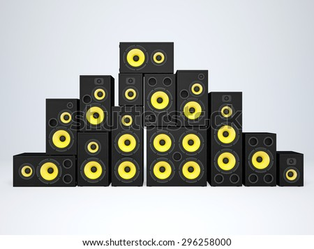 A large group of audio speakers - stock photo