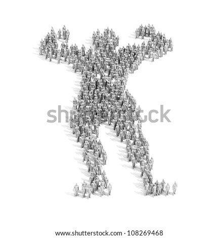A large group of people forming a shape of an athlete - power of the crowd concept - stock photo
