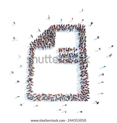 A large group of people in the form of a questionnaire. Flashmob, isolated, white background. - stock photo