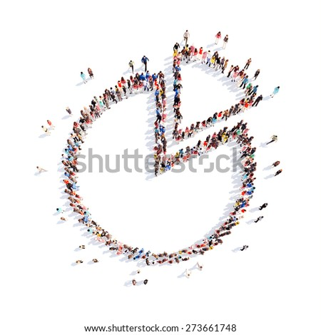 A large group of people in the form of interest. Isolated, white background. - stock photo