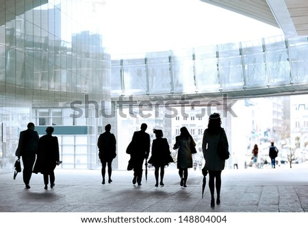 A large group of people in the office center. Panorama. Urban scene.