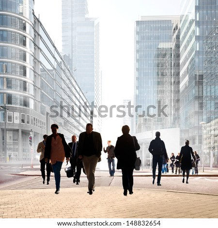 A large group of people in the office center. Urban scene. - stock photo