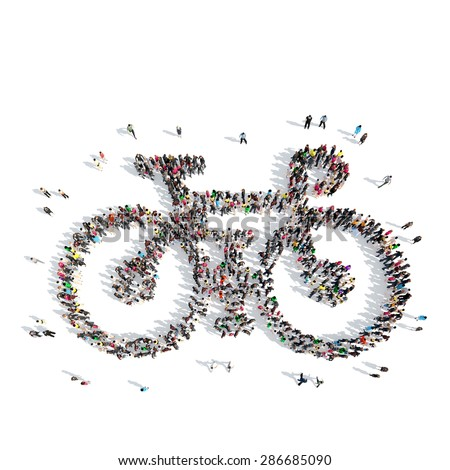 A large group of people in the shape of a bicycle. Isolated, white background. - stock photo
