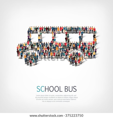A large group of people in the shape of a school bus.  - stock photo