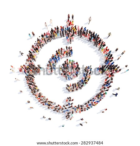 A large group of people in the shape of a target. Isolated, white background. - stock photo
