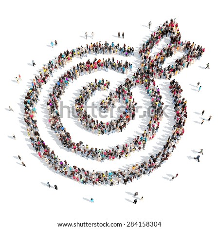 A large group of people in the shape of a target with an arrow. Isolated, white background. - stock photo