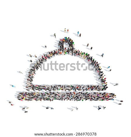 A large group of people in the shape of Cloche. Isolated, white background. - stock photo