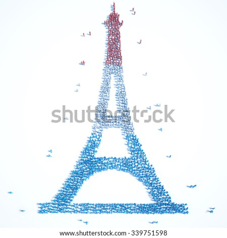 A large group of people in the shape of eiffel tower
