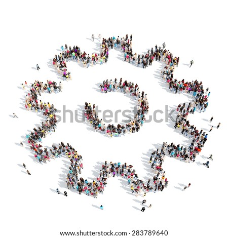 A large group of people in the shape of gears. Isolated, white background. - stock photo