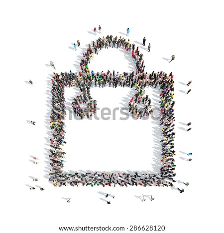 A large group of people in the shapeof bags. Isolated, white background. - stock photo