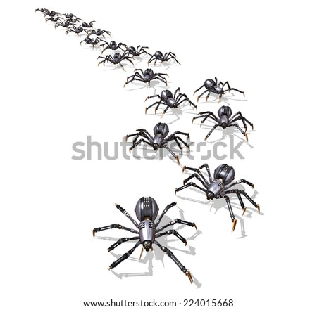 A large group of RoboSpiders on the move - 3D render. - stock photo