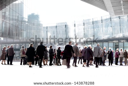 A large group of seniors. Panorama. Urban scene. - stock photo