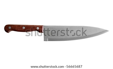 a large kitchen knife on a white background
